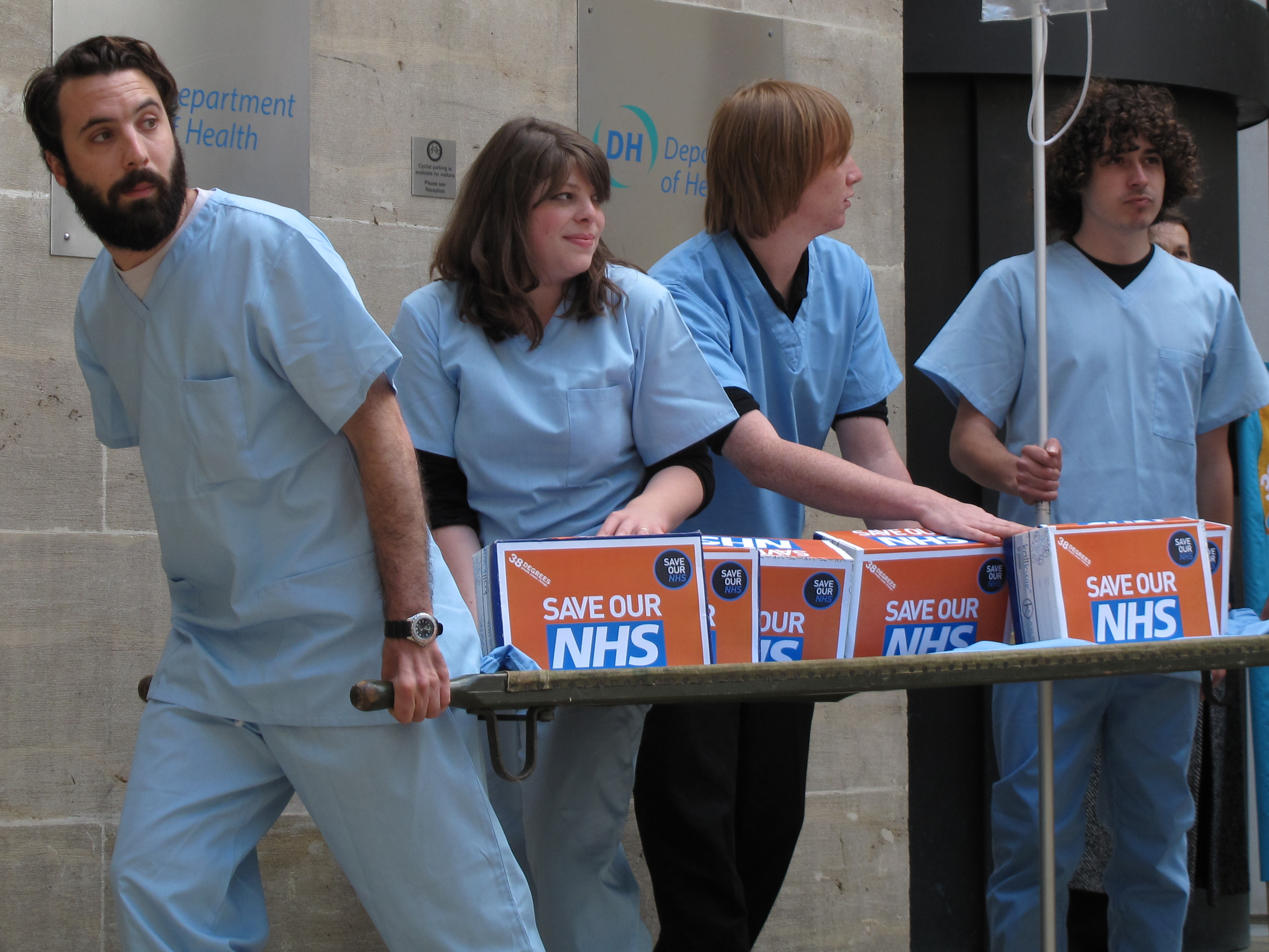 38 Degrees members deliver a petition of over 410,000 names to the NHS. Their message: Save Our NHS